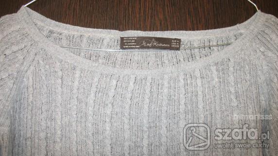 Swetry SZARY SLICZNY AŻUROWY DŁUŻSZY