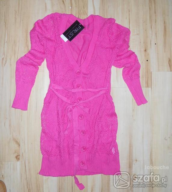 Swetry Różowy kardigan nowy wiosenny S M L
