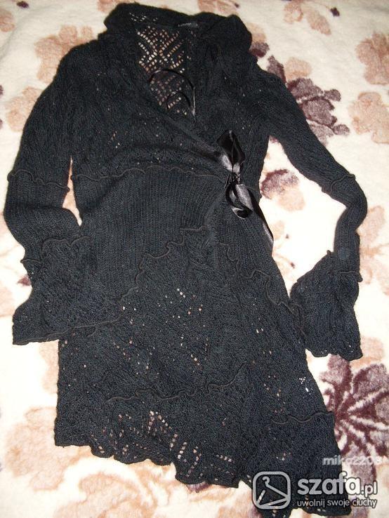 Swetry Czarny sweter wiazany długi roz S M
