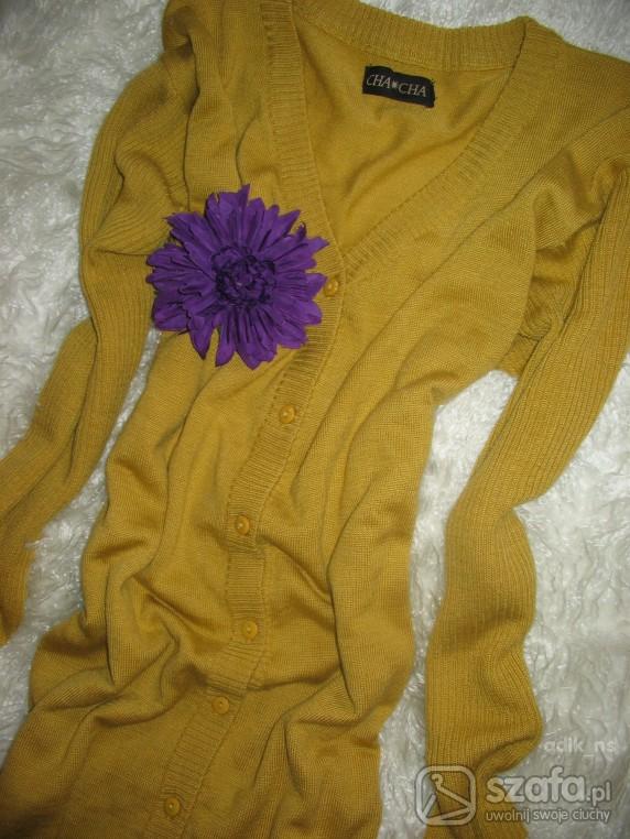 Swetry MUSZTARDOWY PIĘKNY WIOSENNY KARDIGAN
