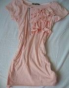 pudrowa bluzeczka z żabotem zip