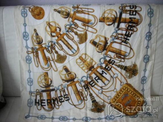 Chusty i apaszki Apaszka kremowa z jedwabiu HERMES