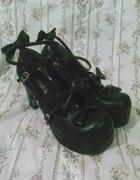 Czarne loli buty z kokardami