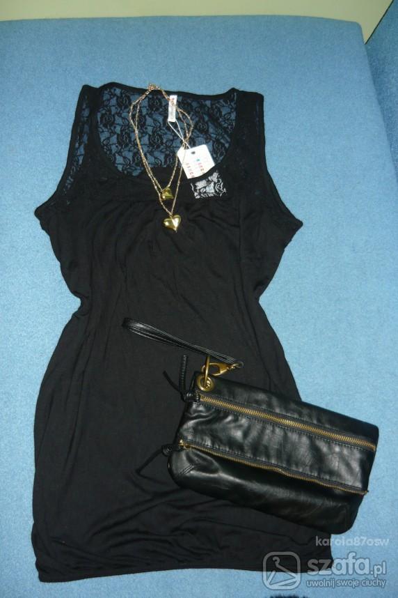 Mój styl sukienka tunika czarna z koronka