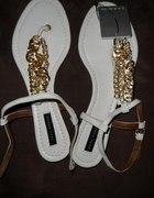 sandałki Zara złote łańcuszki
