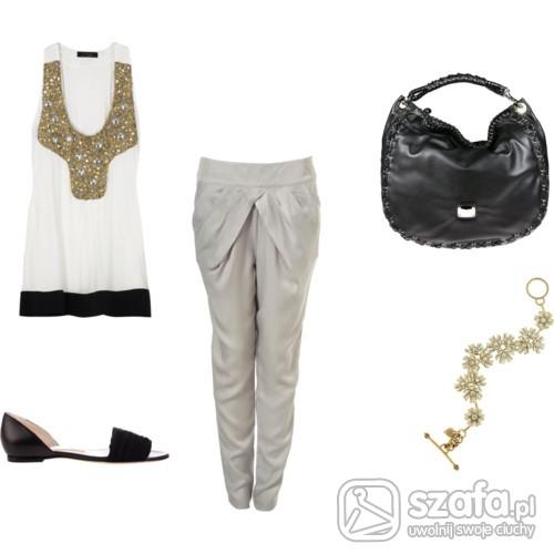 Eleganckie szare spodnie z tuniką