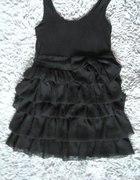 HM falbanki czarna tiulowa sukienka z kokardą