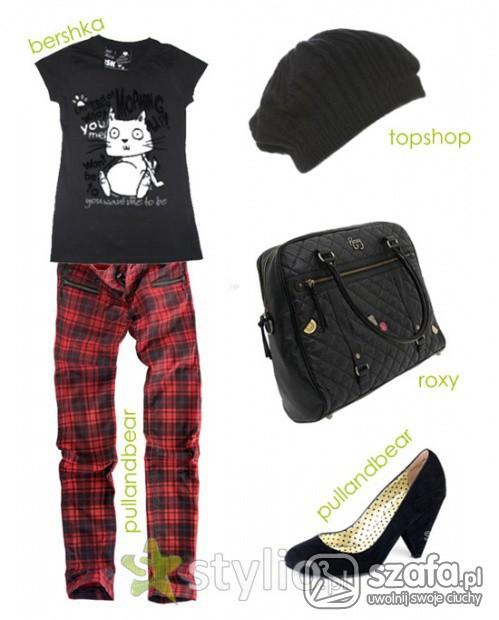 Mój styl Pilne Poszukuję Czerwone spodnie w czarną kratę