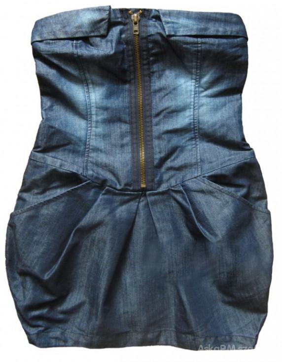Suknie i sukienki zip dress ola szwed bombka jeansowa atmosphere M