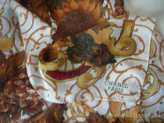 Chusty i apaszki CHANEL piekna ze słonecznikami jedwabna apaszka