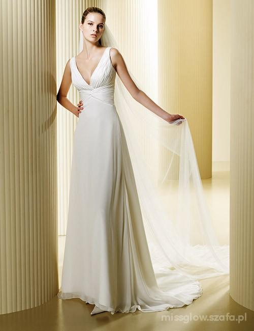 Piękna Prosta Suknia ślubna Madonna Felicidad R34 W Suknie ślubne