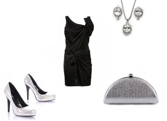 Na specjalne okazje Czarna sukienka z srebnymi dodatkami