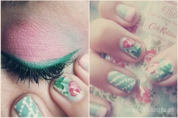 Floral makijaż paznokcie