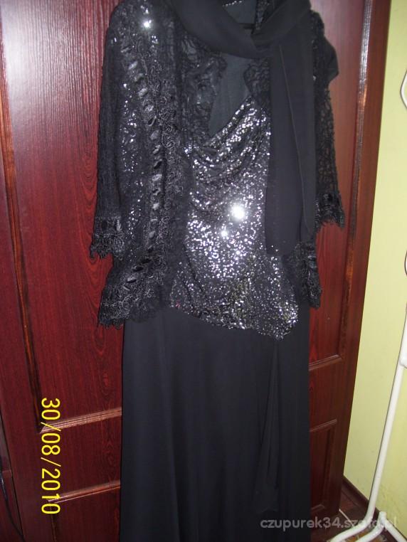 Wieczorowe srebrno czarna sukienka