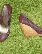 Wedges HM drewniany koturn brązowe 40