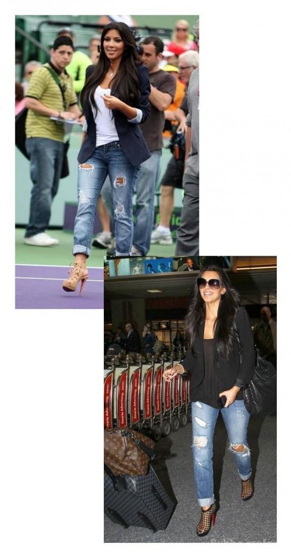 Kim Kardashian w jeansach distroyed