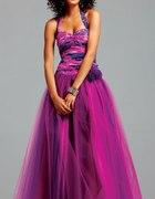 Piekna suknia wrzosowo fioletowa