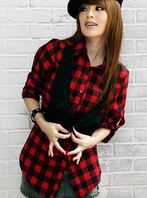 koszula w kratę czerowno czarną new look