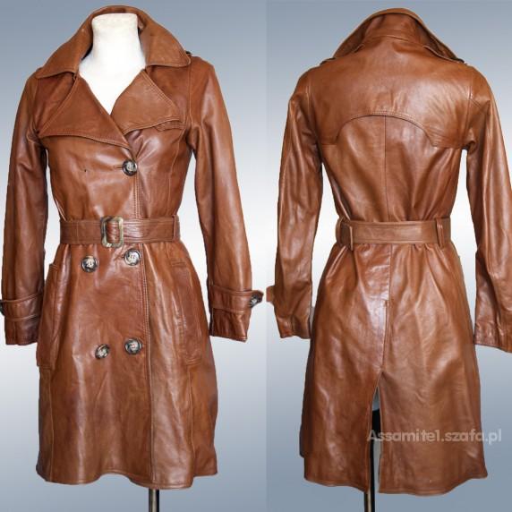 f8e86cf8bde60 Rudy skórzany płaszcz XS 34 SKÓRA NATURALNA w Odzież wierzchnia ...