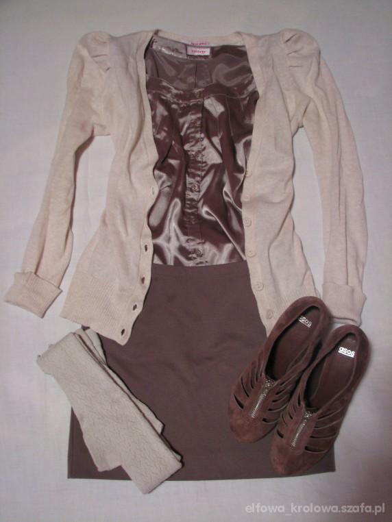 Mój styl Kardigan z bufkami satynowa bluzeczka i mini