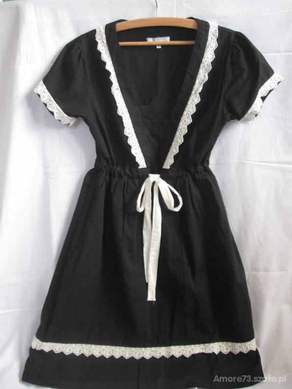 VINTAGE sukienka CZARNO BIAŁA HARMONIA...