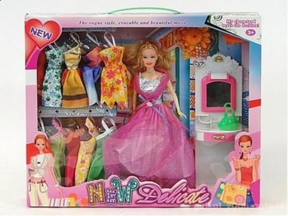 Zabawki Nowy zestaw lalka z sukienkami i toaletką