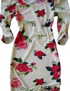 Sukienka Róże Bufki Power Shoulders H M 36...