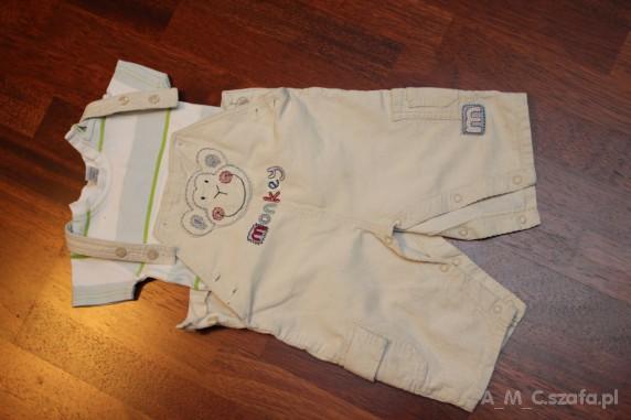 Komplety spodnie ogrodniczki z uroczą małpką dla chłopca