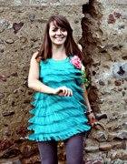 Cubus sukienka studniówka pudrowy róż frędzelki M