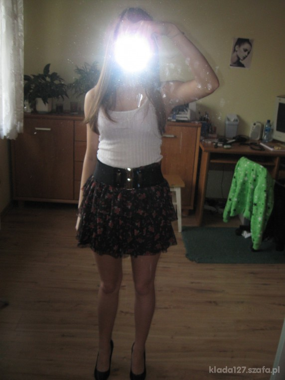 Mój styl Spódnica floral biały top