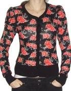 ZARA sweter floral S XS róże HiM bufki