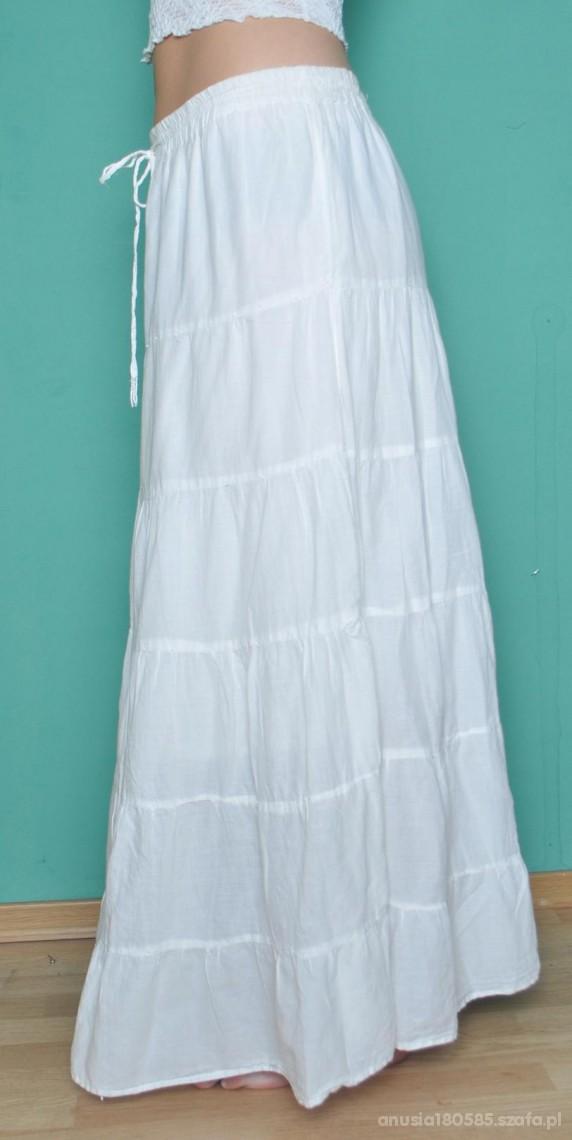 Młodzieńczy Długa biała spódnica w Spódnice - Szafa.pl NR85