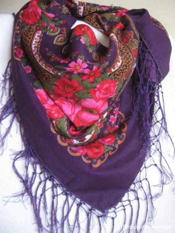 Chusty i apaszki Ludowa chusta ciemny fiolet