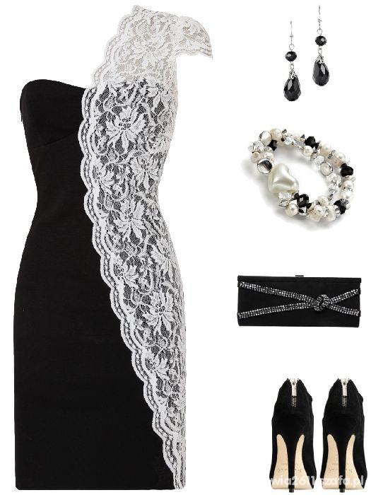 Suknie i sukienki Sukienka z białą koronką