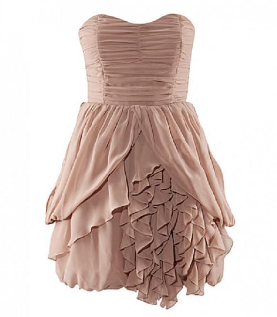 sukienka z falbankami HM Anja Rubik Nude