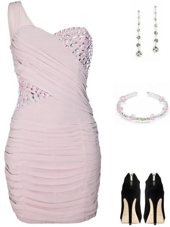 Sukienka z jednym ramiączkiem z kamieniami pastelowy róż