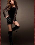 Czarna bluzka damska z koronki Japan Style B1891