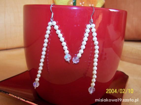 Kolczyki handmade białe perełki śliczne...