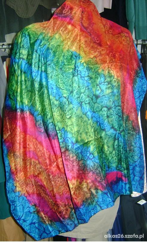 Chusty i apaszki Piękna duża chusta cieniowana jedwabna w kolorach