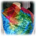 Piękna duża chusta cieniowana jedwabna w kolorach