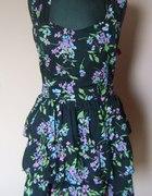 Nowa czarna sukienka floral falbany rozmiar 42 44