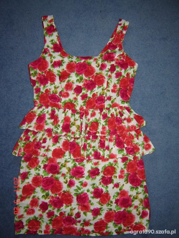 Sukienka w kwiatki z falbankami...