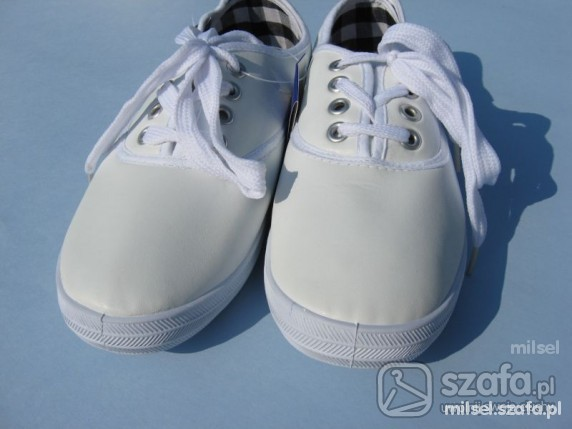 tenisówki trampki skórzane białe 37 23cm w Sportowe Szafa.pl