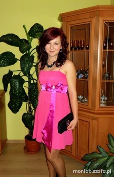 Wieczorowe różowa sukienka z kokardą