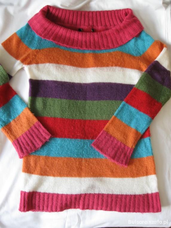 0b15e40167fffd długi kolorowy sweter w paski oversize w Swetry - Szafa.pl