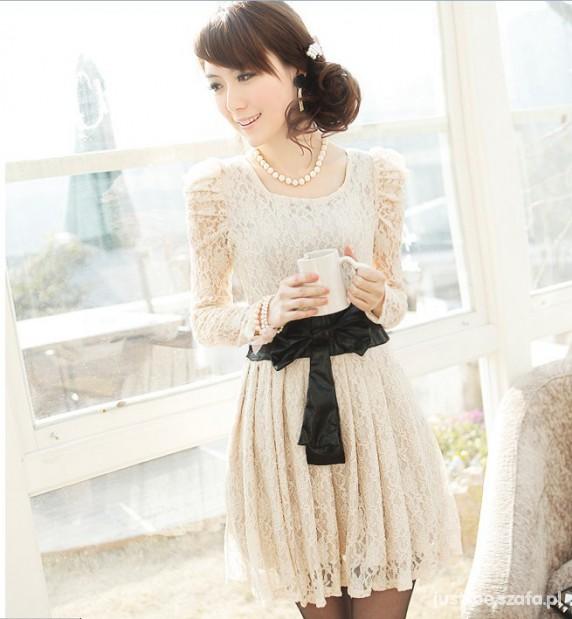 45a4407f7c JAPAN STYLE sukienka koronkowa z kokardą S w Suknie i sukienki ...