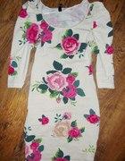 HM z bufkami tuniko sukienka FLORAL kwiaty 34