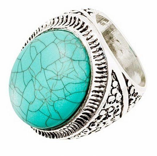 HandM pierścionek z turkusowym oczkiem