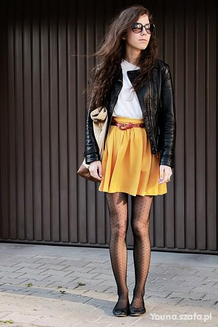Żółta rozkloszowana spódnica Zara TRF