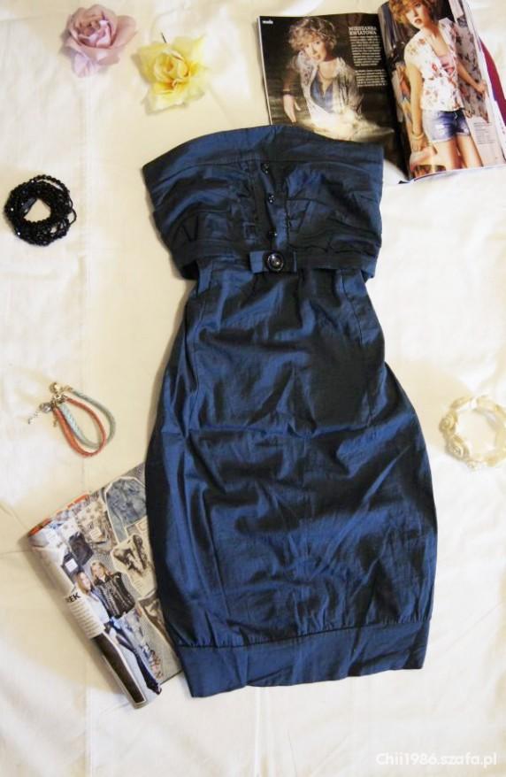 granatowa sukienka tuba marine style